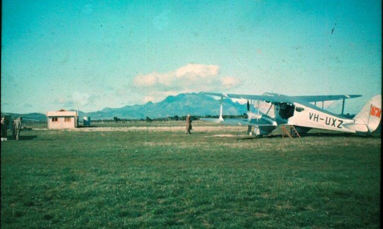 "ANA DH89 Dragon Rapide ""Marika"" at St Pats Aerodrome, Flinders Island, about 1937"